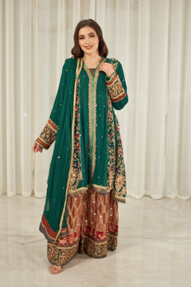 3 Piece luxury embroidered mehndi suit in green