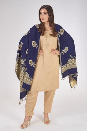 Marina navy wool shawl