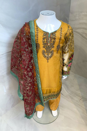 Kids 3 piece luxury embroidered suit in mustard