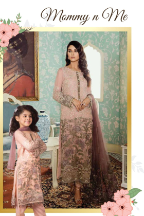 Kids 3 piece peach chiffon embroidered suit