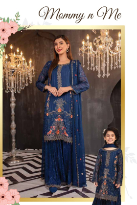 Kids 3 piece blue chiffon embroidered suit