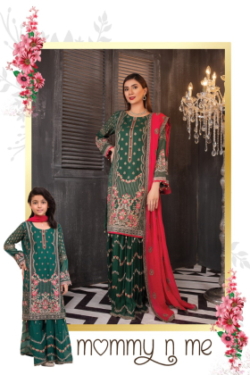 3 Piece green chiffon embroidered sharara suit