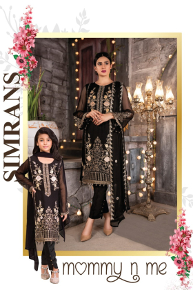 3 Piece black luxury embroidered chiffon outfit