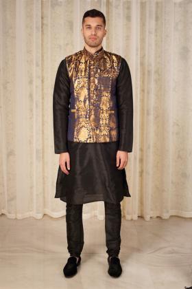 Men's banarsi waistcoat in dark blue