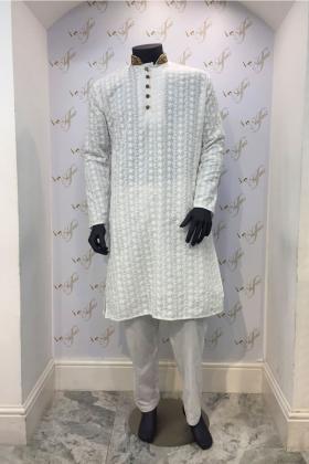 Men's White Chikan Cotton Kurta Shalwar Kameez Set
