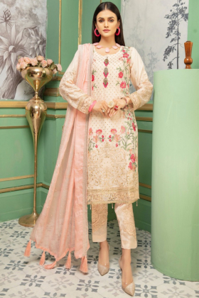 3 Piece luxury embroidered suit in light pink