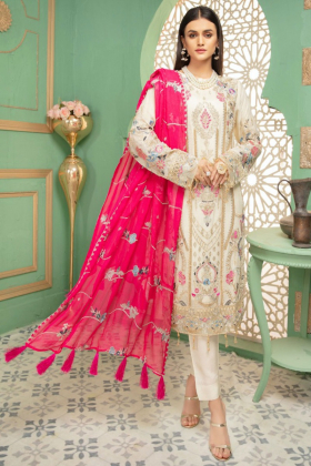 3 Piece chiffon luxury embroidered suit in off white