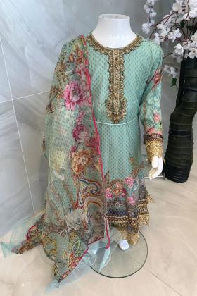Ivana kids 3 piece luxury lawn printed suit in mint