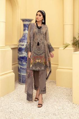 3 Piece luxury lawn printed suit in dark grey