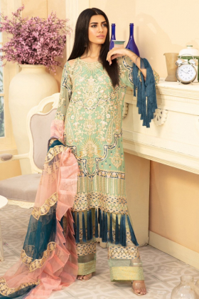 M Maria 3 piece luxury embroidered suit in mint