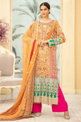 M-Maria 3 piece luxury embroidered suit in orange and pink
