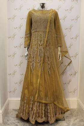Beige Maxi Net Dress With Leggings, Embroided Belt And Dupatta