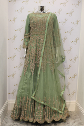 Green Maxi Net Dress With Leggings, Embroided Belt And Dupatta