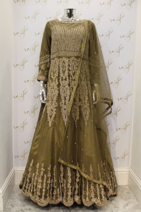 Three Piece Gown in Khakhi