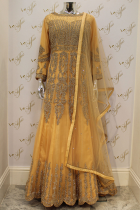 Peach Maxi Net Dress With Leggings, Embroided Belt And Dupatta