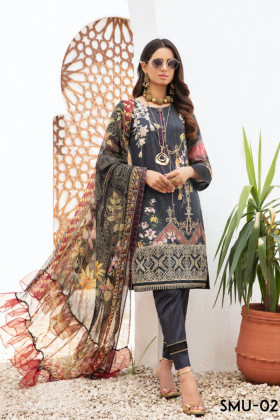Mausam 3 piece luxury lawn printed suit in black
