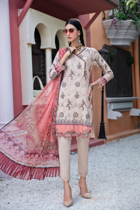 Mausam 3 piece luxury lawn printed suit in beige