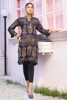 Multi coloured thread-work embroidered kurta in black