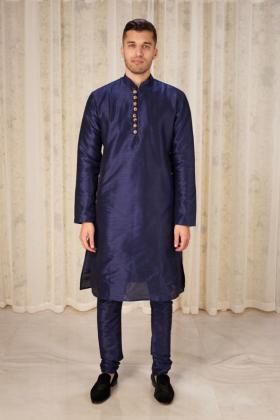 Men's raw silk phatani shalwar kameez in navy