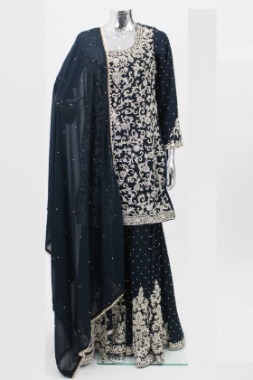 Navy blue stone work gharara suit