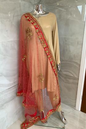 Net luxury embroidered dupatta in peach pink