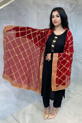 Light weight chiffon embroidered dupatta in maroon