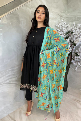 Light weight thread-work embroidered dupatta in teal