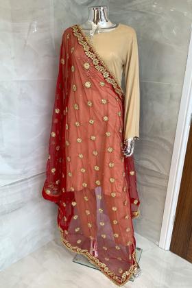 Red luxury net embroidered dupatta