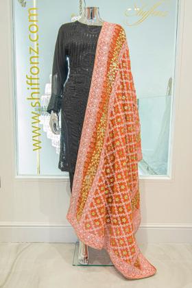 Orange beautiful embroidered dupatta