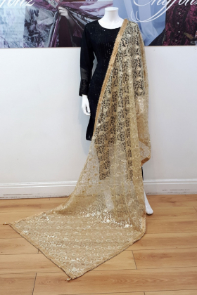 Heavy gold sequence embroidered dupatta