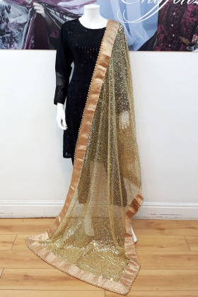 Sequence embroidered gold net dupatta