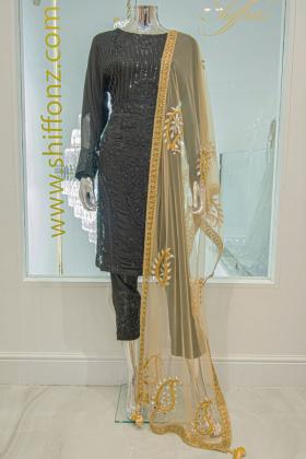 Net gold dupatta with mirror embellishments