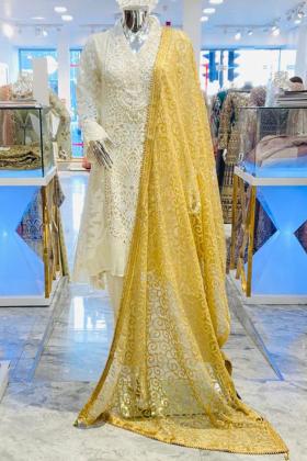 Thread-work embroidered net gold dupatta