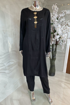 2 Piece casual lawn suit in black