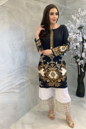 Black digital printed Simran's lawn kurti for Eid 2021