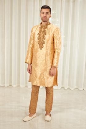 Men's banarsi 2 piece suit in gold