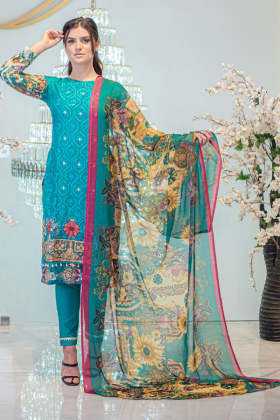 NOOR 3 Piece turquoise printed lawn suit