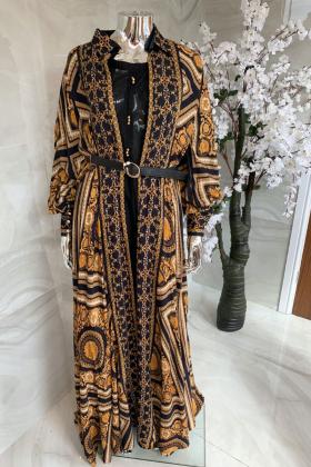 Beautiful printed jacket style kurti in black