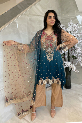 3 Piece luxury embroidered chiffon peplum outfit in beige