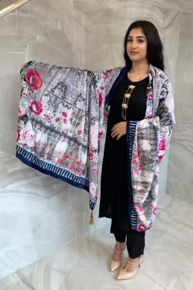 Light weight linen printed shawl