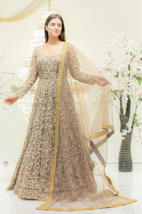Long Embroidered Gown in Khaki