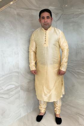 Men's phatani raw silk suit in beige