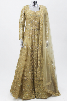 Gold luxury embroidered long gown