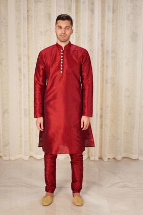 Men's raw silk phatani shalwar kameez in red
