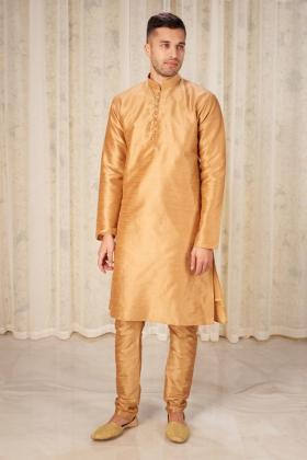 Men's gold phatani shalwar kameez in raw silk
