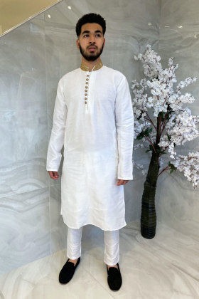 Men's raw silk phatani suit in white with an embroidered collar