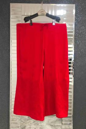 Red linen plain plazo