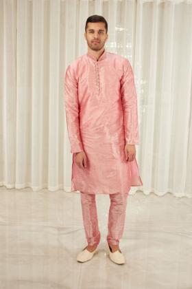 Men's raw silk phatani shalwar kameez in pink