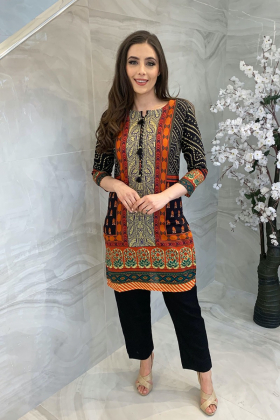 Lawn black multi printed kurta for Eid 2021
