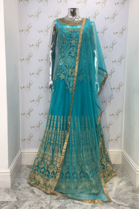 Long turquoise net dress with cotton lining